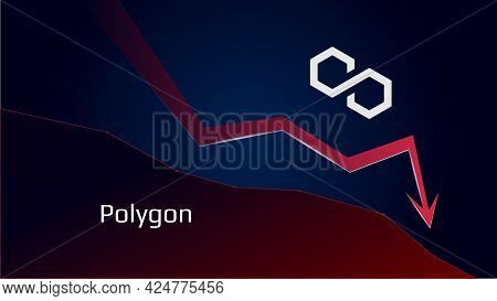 Polygon Matic In Downtrend And Price Falls Down. Cryptocurrency Coin Symbol And Red Down Arrow. Crus
