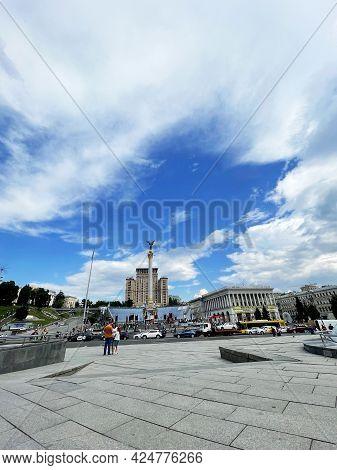 City Square, City Centre, Everyday Life. Beautiful Sky, Houses, Cars. Kiev, Ukraine, June 2021.