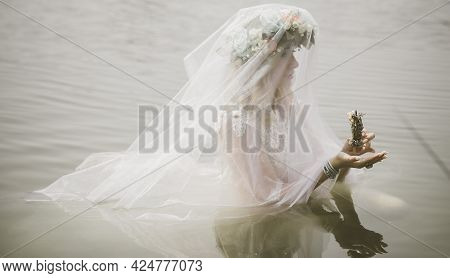 Bride Making Magic Of Candles, Magical Attributes, Herbs And Flowers, Slavic/ Wicca Rituals And Esot