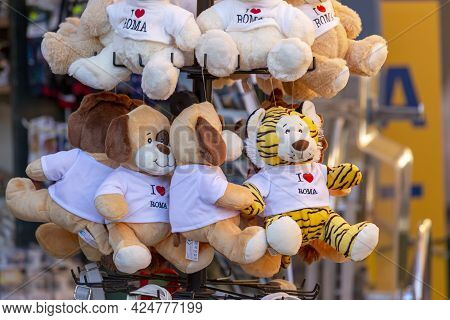 Rome, Italy - October 9, 2020: Plush Toys With The Inscription