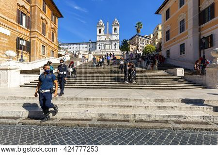 Rome, Italy - October 10, 2020: 18th Century Spanish Steps In Piazza Di Spagna And Renaissance Churc