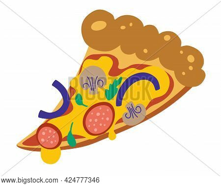 Slice Of Pizza. Delicious Slice Of Pizza With Melted Cheese, Salami, Onions And Mushrooms. Colored V