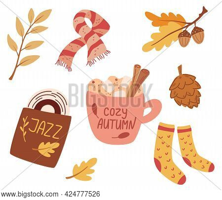 Cozy Autumn. Set Of Cute Autumn Elements: Scarf, Knitted Socks, Warming Drink, Jazz Record, Autumn L