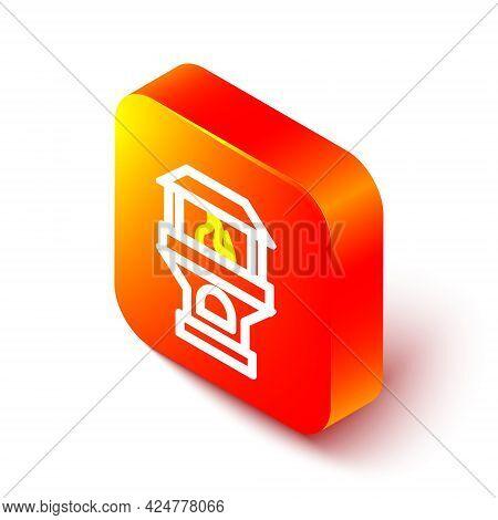 Isometric Line Brick Stove Icon Isolated On White Background. Brick Fireplace, Masonry Stove, Stone