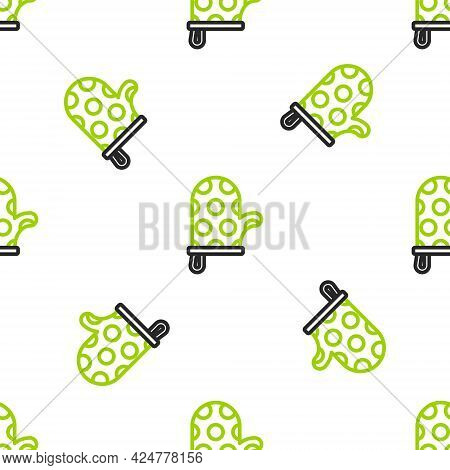 Line Oven Glove Icon Isolated Seamless Pattern On White Background. Kitchen Potholder Sign. Cooking