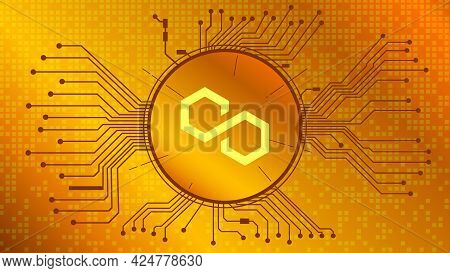 Polygon Matic Cryptocurrency Token Symbol Of In Circle With Pcb Tracks On Gold Background. Currency