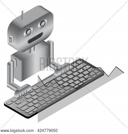Simple Isometric Concept Trading Robot With Keyboard And Chart Isolated On White. Automatic Bot Trad