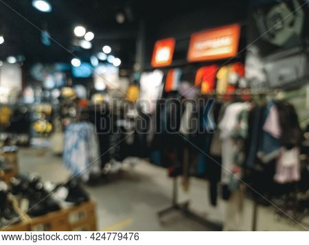 Blurred Background, Store Of Things, Shoes And Accessories In The Mall. As A Person With Poor Eyesig