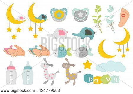 Baby Clipart Stuff Set. Kids Collection Vector Illustration.