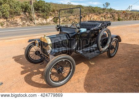 Franschhoek, South Africa - April 12, 2021: A Model-t Ford From 1915 On The Franschhoek Pass In The
