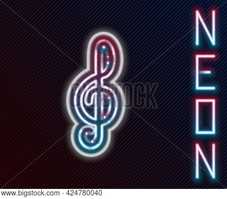 Glowing Neon Line Treble Clef Icon Isolated On Black Background. Colorful Outline Concept. Vector