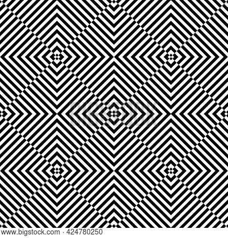 Seamless Geometric Checked Op Art Pattern. Vector Art.