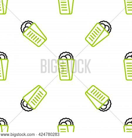 Line Gyros Pita Greek Fast Food Traditional Cuisine Icon Isolated Seamless Pattern On White Backgrou