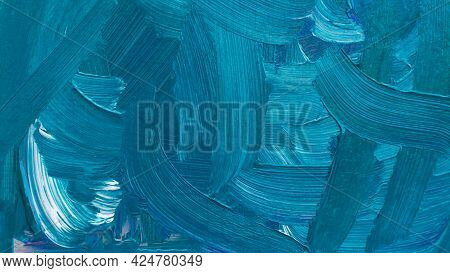 Blue Turquoise Cyanide Acrylic Painting, Abstract Pictorial Background. Artistic Bright Design Of Po