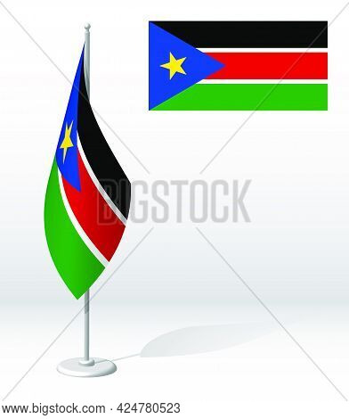 South Sudan Flag On Flagpole For Registration Of Solemn Event, Meeting Foreign Guests. National Inde