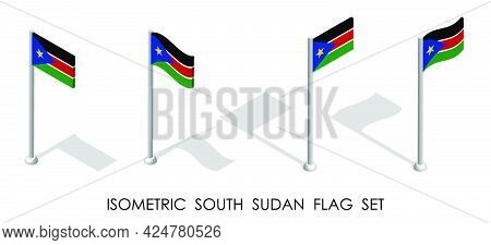 Isometric Flag Of South Sudan In Static Position And In Motion On Flagpole. 3d Vector