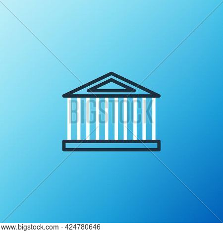 Line Parthenon From Athens, Acropolis, Greece Icon Isolated On Blue Background. Greek Ancient Nation