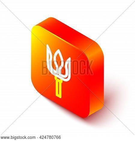Isometric Line Neptune Trident Icon Isolated On White Background. Orange Square Button. Vector