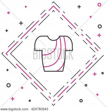 Line Cycling T-shirt Icon Isolated On White Background. Cycling Jersey. Bicycle Apparel. Colorful Ou