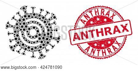 Vector Collage Wi-fi Virus Of Sars Virus Items, And Anthrax Rubber Round Seal Imitation. Virus Items