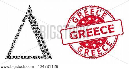 Vector Mosaic Delta Letter Of Covid-2019 Virus Items, And Greece Unclean Round Stamp. Virus Cells In