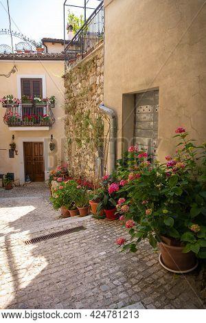 Cityscape In Castro Del Volsci, Fronzinone, Italy From Mountain Road