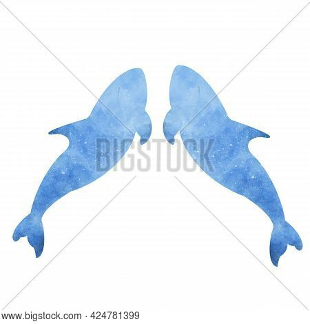 Set Of Two Blue Aquarelle Watercolor Dolphins On White Background Hand Drawn Digital Illustration