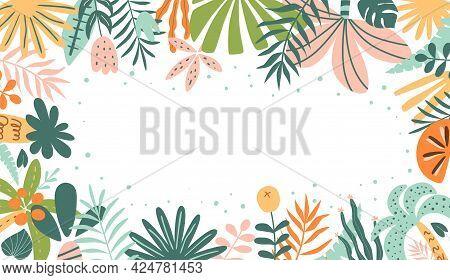Tropical Horizontal Banner. Tropic Leaf Summer Panorama. Exotic Leaves Banner Botanical Graphic Desi
