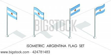 Isometric Flag Of Argentina In Static Position And In Motion On Flagpole. 3d Vector