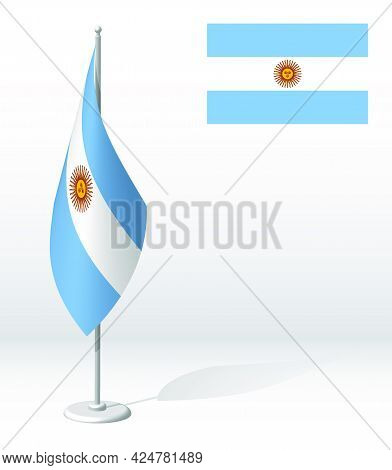 Argentina Flag On Flagpole For Registration Of Solemn Event, Meeting Foreign Guests. National Indepe