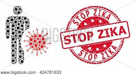 Vector Mosaic Infected Man Of Sars Virus Parts, And Stop Zika Corroded Round Stamp Seal. Virus Items