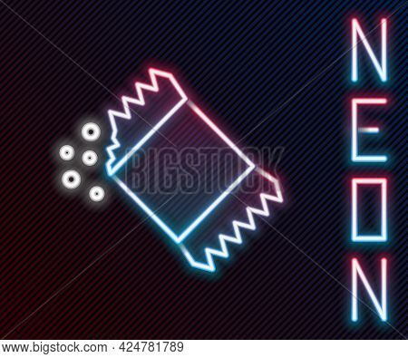 Glowing Neon Line Packet Of Pepper Icon Isolated On Black Background. Colorful Outline Concept. Vect