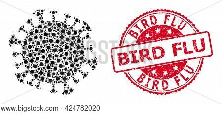 Vector Collage Coronavirus Cell Of Covid-2019 Virus Items, And Bird Flu Corroded Round Stamp Seal. V