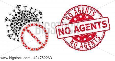 Vector Mosaic No Covid Virus Of Sars Virus Items, And No Agents Unclean Round Stamp Seal. Virus Elem