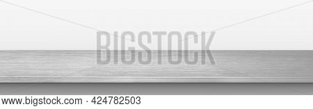 Metal Kitchen Countertop, Iron Texture, Large Table On A White Background - Vector Illustration