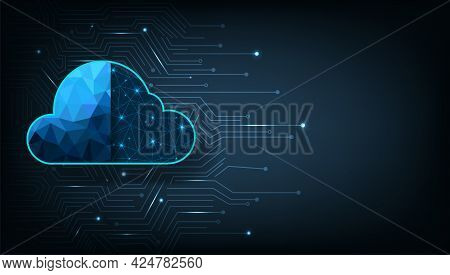Cloud Technology Illustration Concept.high-speed Connection Data Analysis. Technology Network For Co