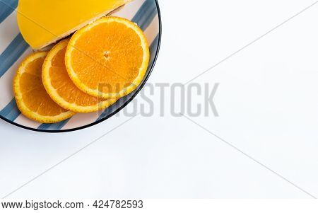 Flat Lay With Slices Orange And Orange Curd Cake With Copy Space, Top View Isolated Citrus Slices ,f