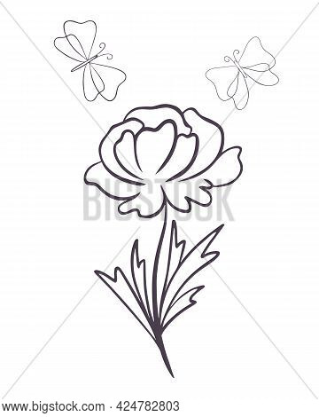 Flower With Butterflies, Line Art. Vector Illustration Of A Flower With Blossoming Petals And Moths.