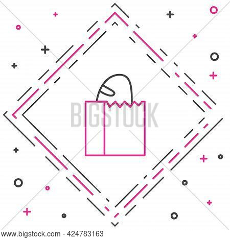 Line Paper Bag With Bread Loaf Icon Isolated On White Background. Colorful Outline Concept. Vector