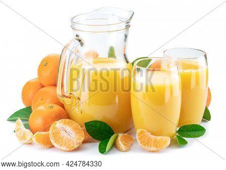 Orange tangerine fruits and fresh tangerine juice isolated on white background.