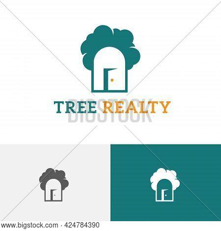 Tree Realty Open Door House Real Estate Logo