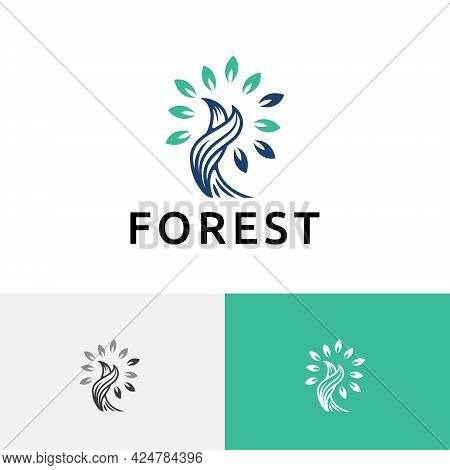 Twisted Tree Forest Nature Leaves Ecology Simple Logo