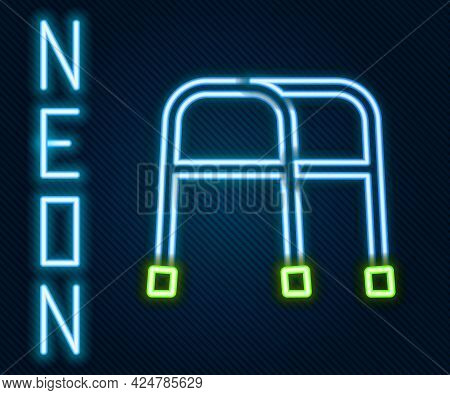 Glowing Neon Line Walker For Disabled Person Icon Isolated On Black Background. Colorful Outline Con