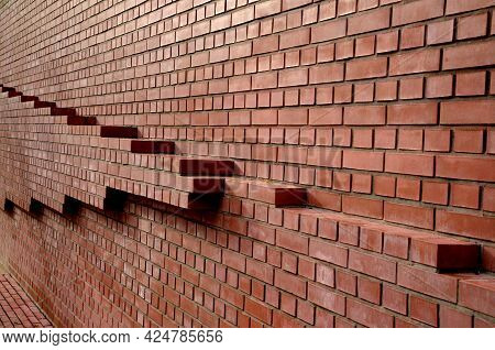 Brick Wall From Tiling Without Joints. Very Smooth Stacked Red Wall. Very Nicely Stacked With Black