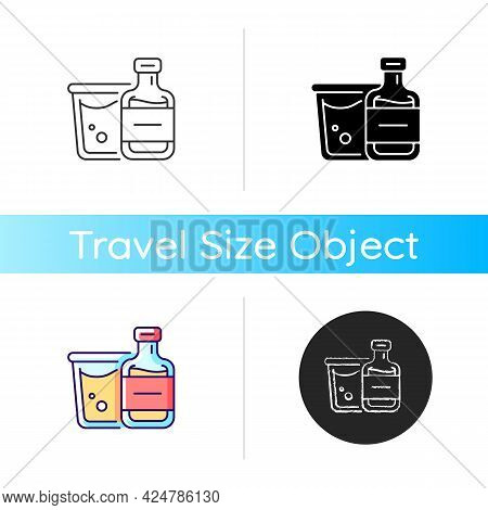 Airplane Alcohol Icon. Mini Bottled Drinks From Duty Free. Portable Amenities. Essential Things For