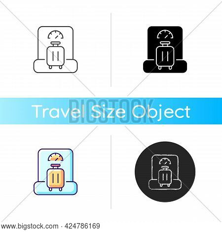 Baggage Weight Icon. Luggage Weighing In Airport. Traveller Suitcase Check. Essential Things For Tou