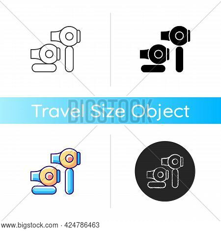 Travel Size Hair Dryer Icon. Portable Electronic Appliance For Traveller Hygiene. Essential Things F