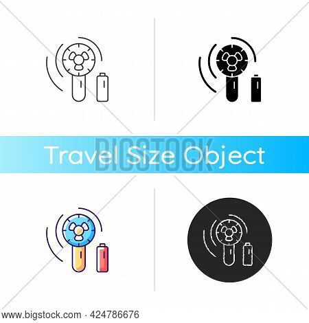Mini Travel Fan Icon. Portable Amenities For Comfort During Summer Vacation. Essential Things For To