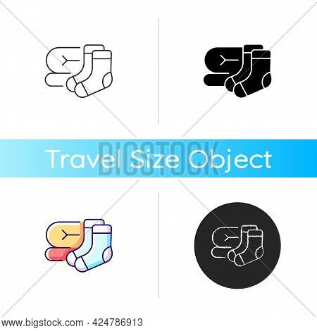 Socks And Blanket Icon. Portable Amenities For Camping Comfort. Essential Things For Tourists. Trave