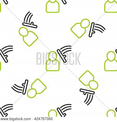 Line Police Beat Human Icon Isolated Seamless Pattern On White Background. Abuse Of Authority. Prote